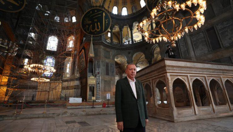 Erdoğan Ayasofya'da incelemelerde bulundu