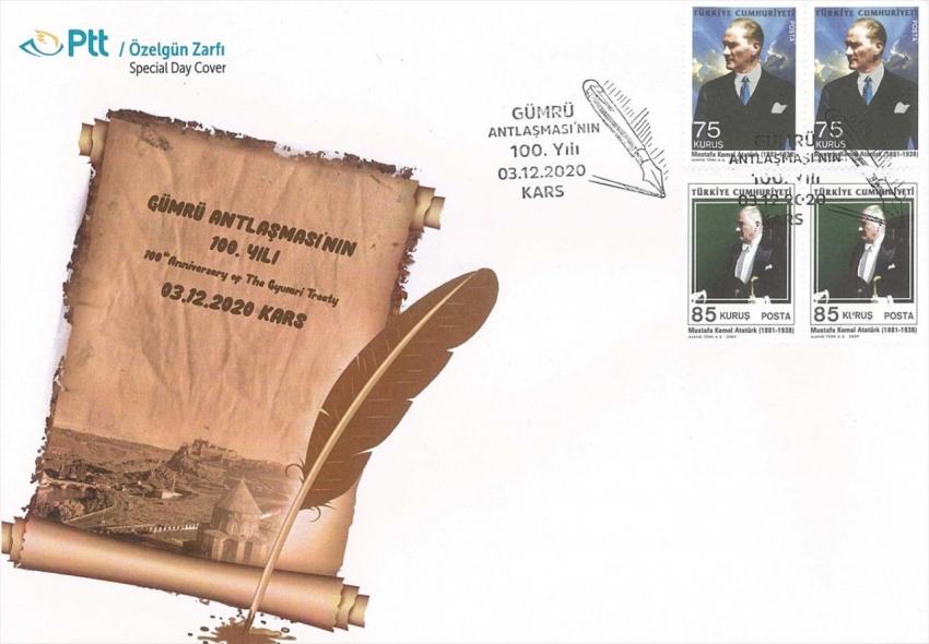 """PTT """"Gümrü Antlaşması'nın 100. Yılı"""" konulu özel gün zarfını tedavüle çıkardı"""